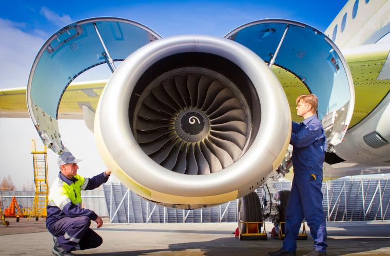 Commercial aircraft engine SaM146 under wing, nacelle opened