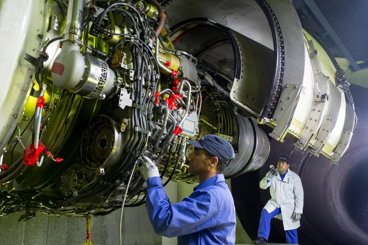 CFM56-7B engine on the test bench at Safran Aircraft Engines Morocco Engine Service site in Casablanca