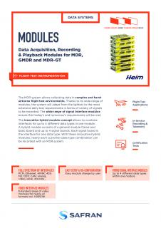 Modules : Data Acquisition, Recording & Playblack for MDR, GMDR and MDR-GT