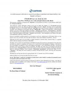 Obligations émises le 26 novembre 2009 – Prospectus (anglais seulement)