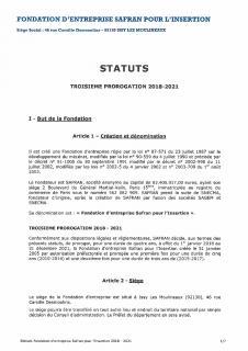 Statuts Fondation Safran pour l'Insertion