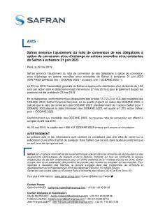 Avis relatif aux obligations convertibles à échéance 21 juin 2023