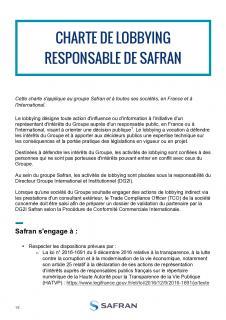 La charte de lobbying responsable de Safran