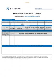 Event report for turbojet engines - Safran Power Units